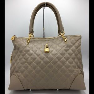 Marc Jacobs Italy Taupe Quilted Leather Tote Bag